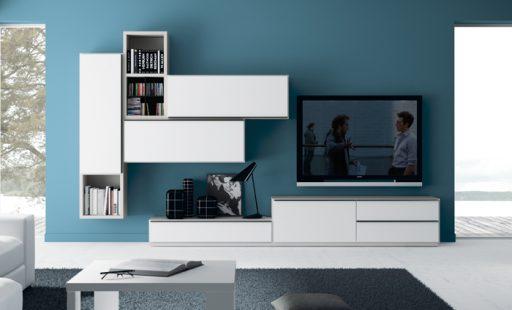 Descubre qué es el color acento. Mueble de la colección Sombra con módulos colgantes