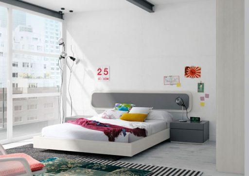 Dormitorio blanco combinado con gris de la colección Nuit de Kibuc