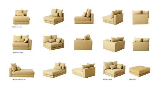 Ventajas de los sofás con chaise longue. Distintas alternativas del módulo chaise longue del sofá BCN de Kibuc.