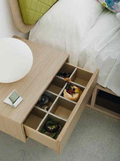 Ideas para organizar tu casa. Compartimentos en esa mesita Nuit de Kibuc.