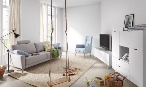 Elegir colores para pintar el salón. Mueble Trazos y sofá Siena