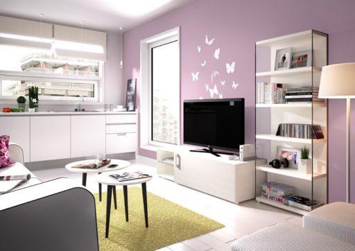 Decorar salones pequeños. Mueble y librería Eko-s de Kibuc