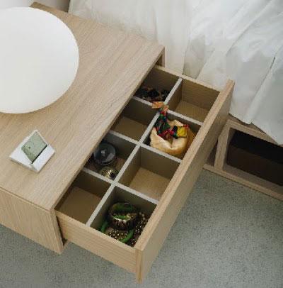 Ideas para organizar el dormitorio. Mesita de la colección Nuit de Kibuc con organizadores