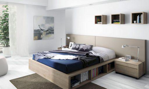 Ideas para organizar el dormitorio. Cama con organizador de libros de la colección Nuit de Kibuc