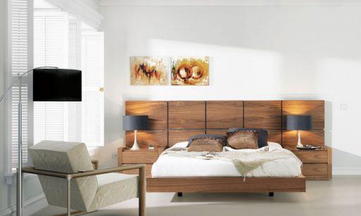 Elegir el cabacero de la cama. Cabecero Aiko de Kibuc en un estilo muy glamuroso y acabado en nogal