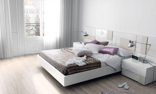 Elegir el cabecero de la cama.  Cabecero de la colección Slaap en blanco.