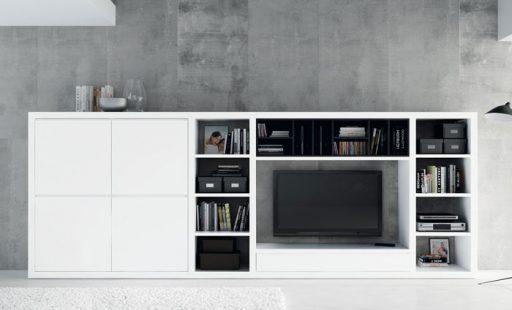 Almacenaje para el comedor. Mueble de la colección Aiko de Kibuc con sistema para organizar material multimedia.