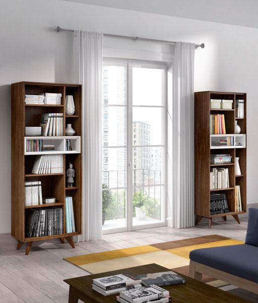 Muebles auxiliares para la sala. Librerías Transfer de estilo vintage Kibuc