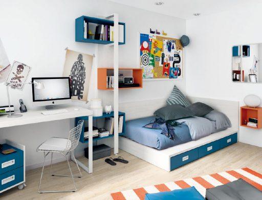 Dormitorios juveniles con tatami. Dormitorio de la colección Ringo de Kibuc.