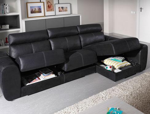 Sofá con arcones en los asientos Bodo