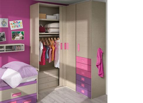 Cómo decorar habitaciones juveniles pequeñas.  Armario rinconero de la colección Home at home de Kibuc.