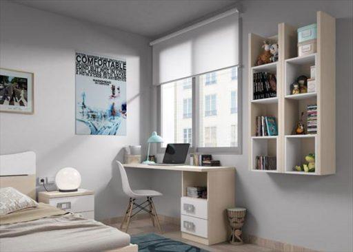 Cómo decorar habitaciones juveniles pequeñas. Zona de estudio de la colección Niu de Kibuc.