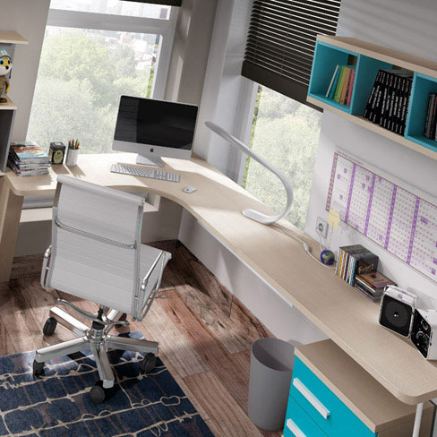 Cómo decorar habitaciones juveniles pequeñas.  Escritorio esquinero de la colección Niu de Kibuc