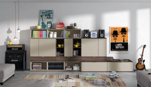 Cómo ordenar el salón. Mueble-librería de la colección Signos