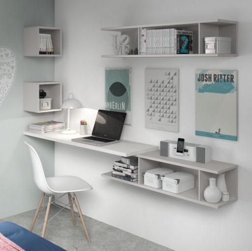 Consejos para decorar una zona de trabajo en casa. Zona de trabajo integrada en dormitorio Nuit.