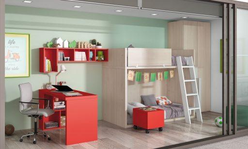 Cómo elegir colores para un dormitorio juvenil.. Dormitorio de la colección Chroma en tonos neutros. Escritorio en color rojo.