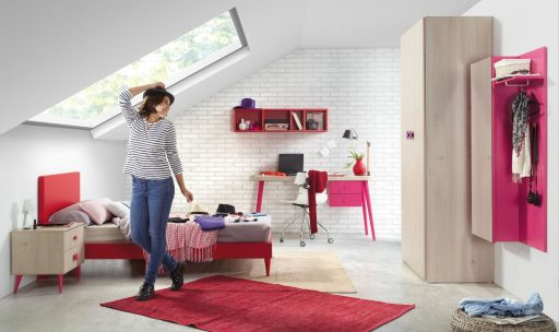 Cómo elegir colores para un dormitorio juvenil. Diseño colección Chroma en fucsia y natural