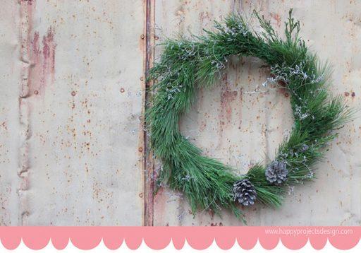Consejos para disfrutar de unas navidades sostenibles. DIY corona navideña de Happy ProjectsDesing
