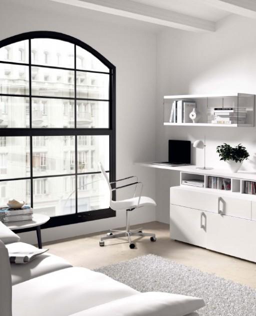 Consejos para decorar una zona de trabajo. Mueble de salón con escritorio de la colección Ekos.