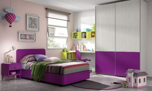 Cómo elegir colores para un dormitorio juvenil. Dormitorio  de la colección Chroma. Color morado