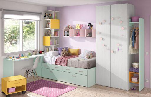 Cómo elegir colores para un dormitorio juvenil. Dormitorio  de la colección Chroma. Color rosa y menta