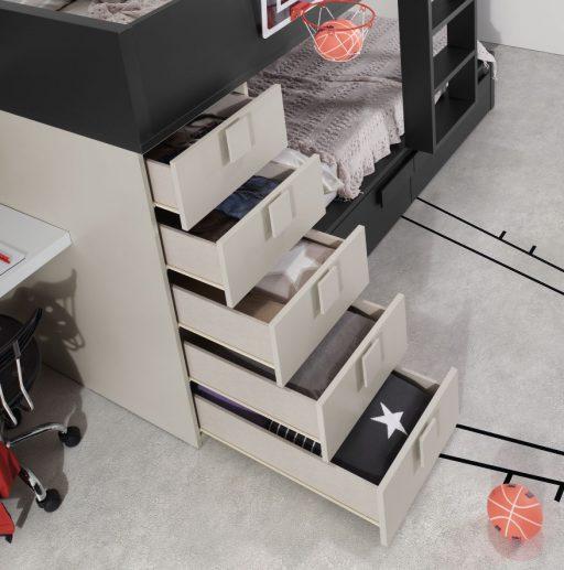 Cajones en litera de la colección Chroma. El sistema K-Soft® de cierre amortiguado es más seguro ara los niños