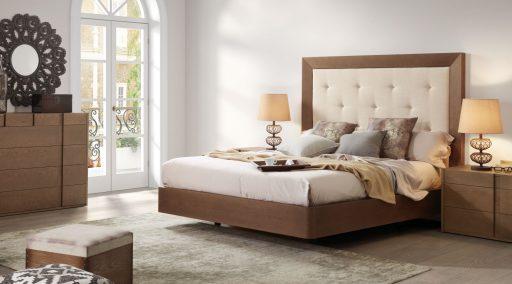 Dormitorio Asai con cabezal tapizado