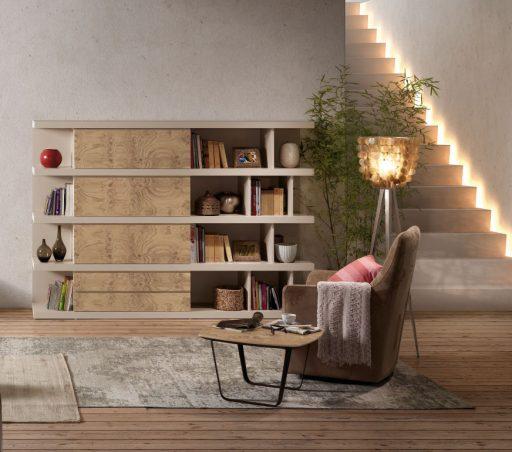 Decorar una casa saludable en la que sentirte feliz. Librería Aiko con butaca Arlet