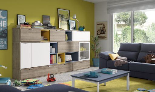Decorar con colores cálidos. Mueble para el salón de la colección Signos
