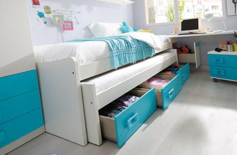 Soluciones de almacenaje para dormitorios infantiles y juveniles. cama nido de la colección Niu