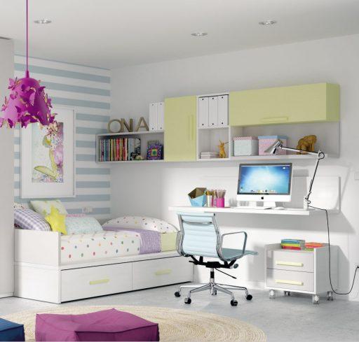 Soluciones de almacenaje para dormitorios infantiles y juveniles. Galería pared Ringo